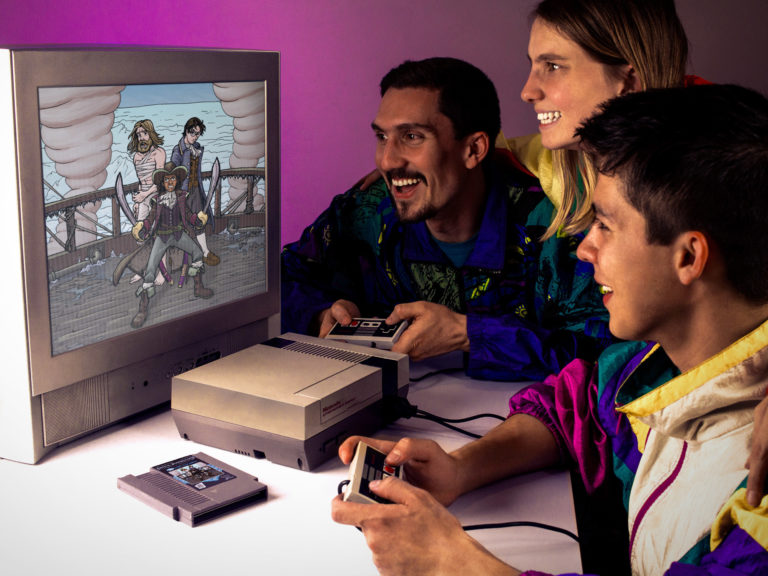 Mockup of a multi-ethnic family of about the same age, playing 'Terror of the Ice Pirates' on Nintendo.